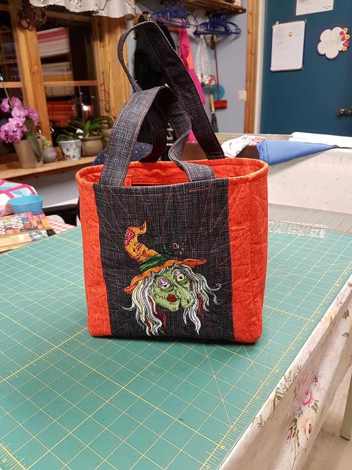 Halloween Woman's bag with Ugly Witch embroidery design