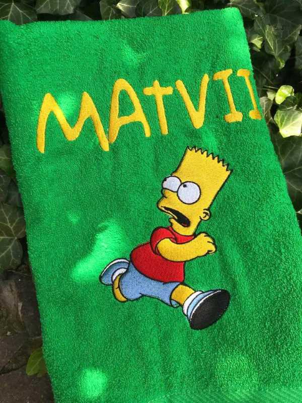 Bath towel with Bart Simpson embroidery design