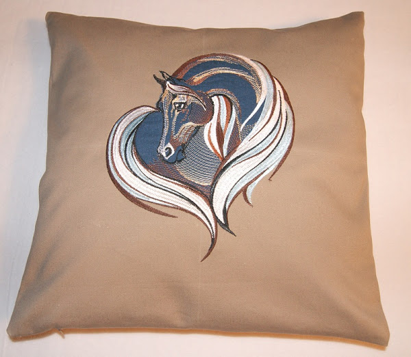 Wild horse embroidered on pillowcase