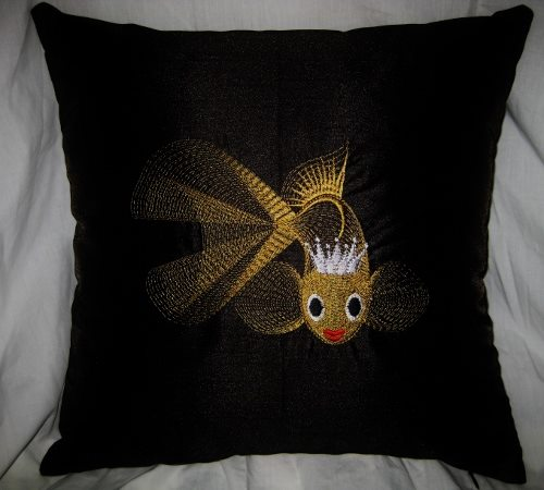 Gold fish embroidery design on pillowcase