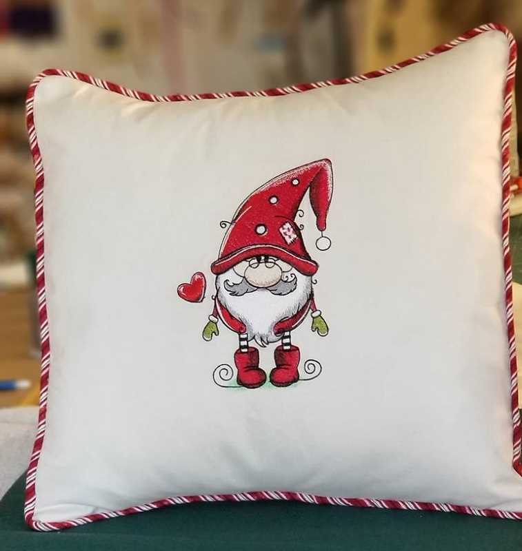 Embroidered sofa cushion with cute Gnome design
