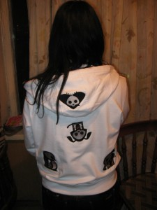 Embroidered jacket with skelanimals