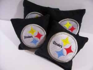 Pittsburgh Steelers logo design on pillowcase embroidered