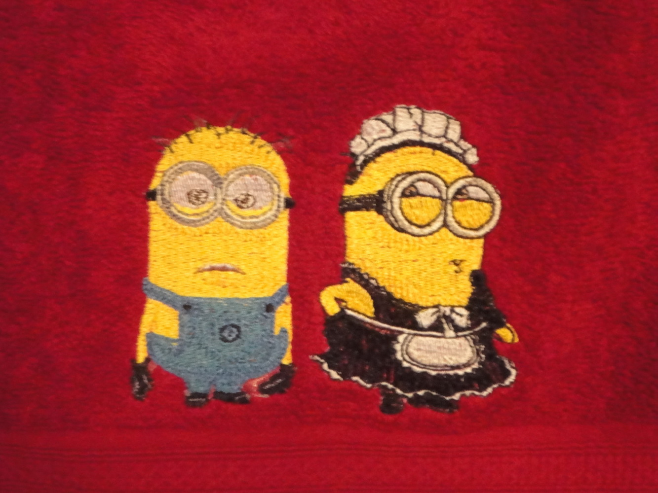 Minions embroidered on towels