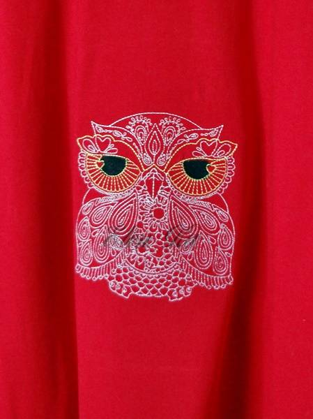 Owl design embroidered on t-shirt