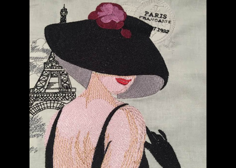 french lady free embroidery design