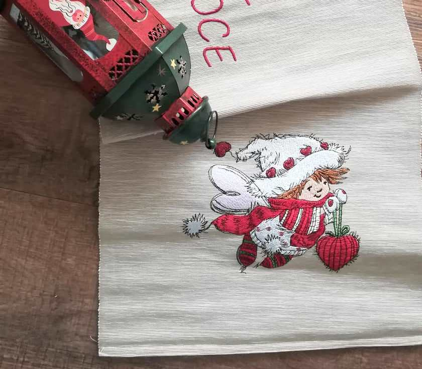 Carpet with Christmas fairy embroidery design