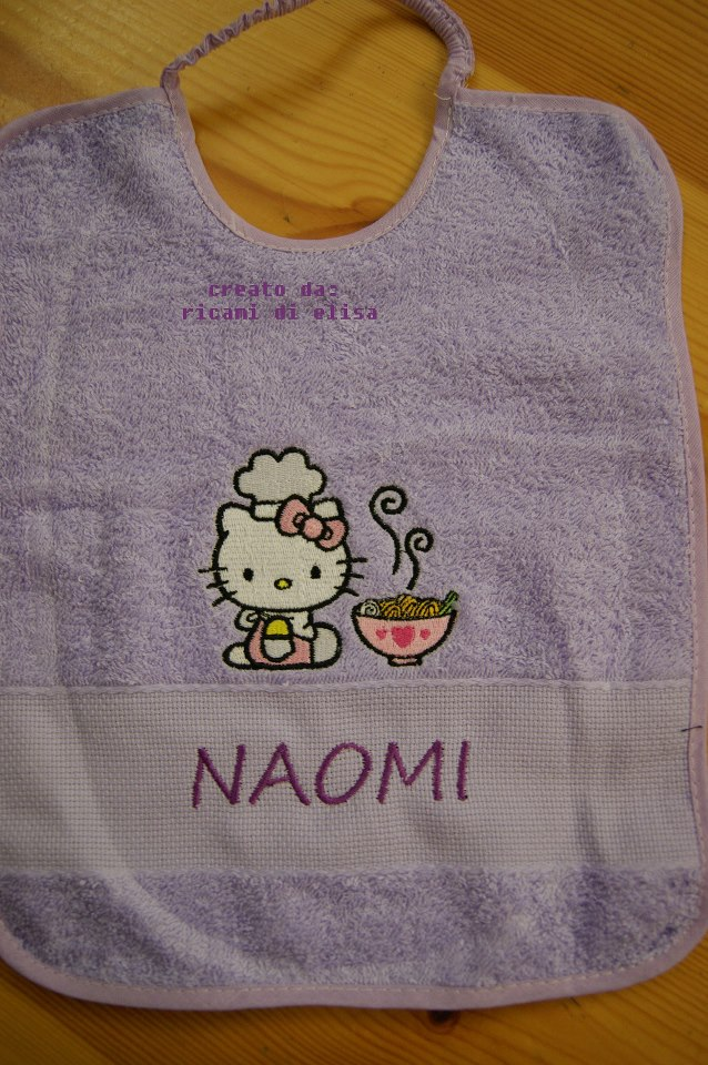Embroidered Hello Kitty loves chinese food on bib