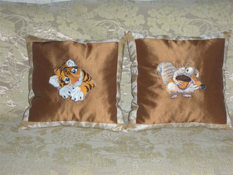 Tiger and  Scrat designs on pillowcase embroidered
