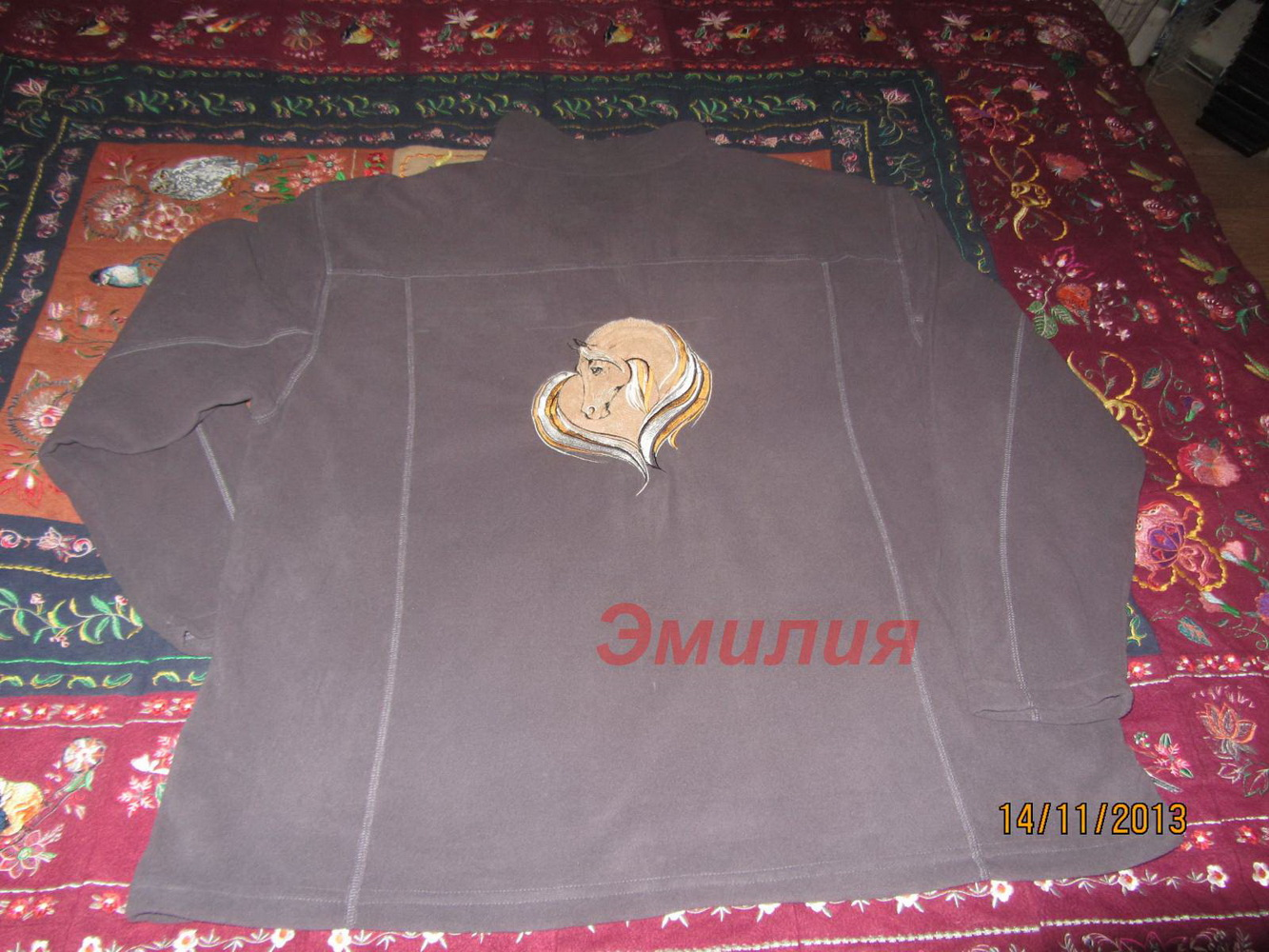 Stylish jacket embroidered with horse heart design