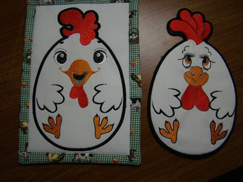 Rooster kitchen potholder embroidery design