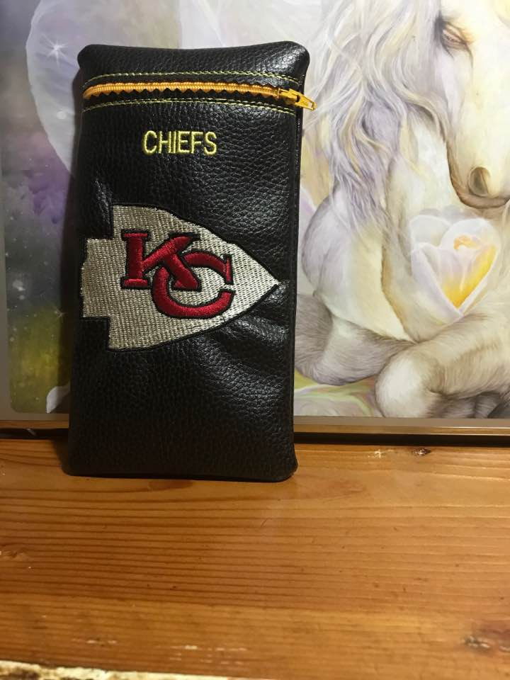 leather case with kansas city chiefs logo embroidery design