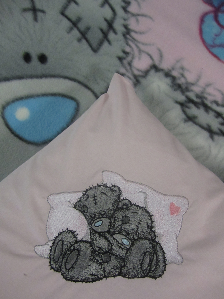 Teddy Bear we sleep embroidered pillowcase