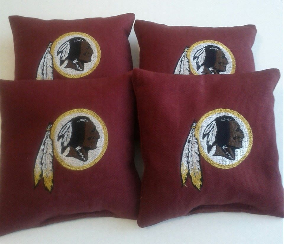 Embroidered Washington Redskins logo on pillowcase