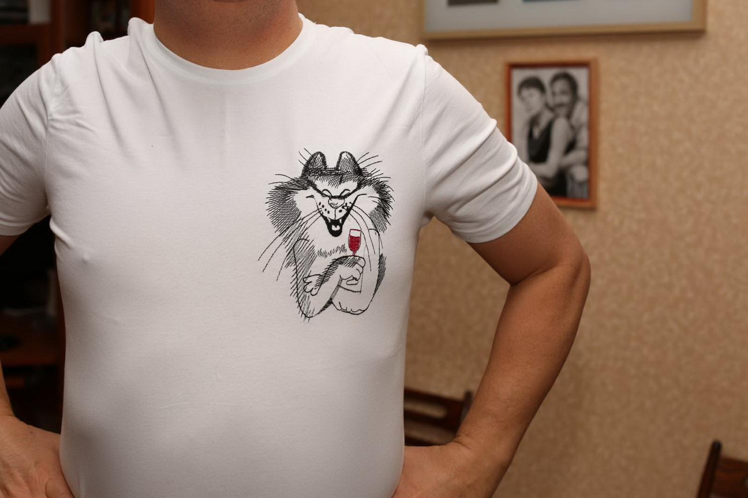 Embroidered white t-shirt with Drinking cat