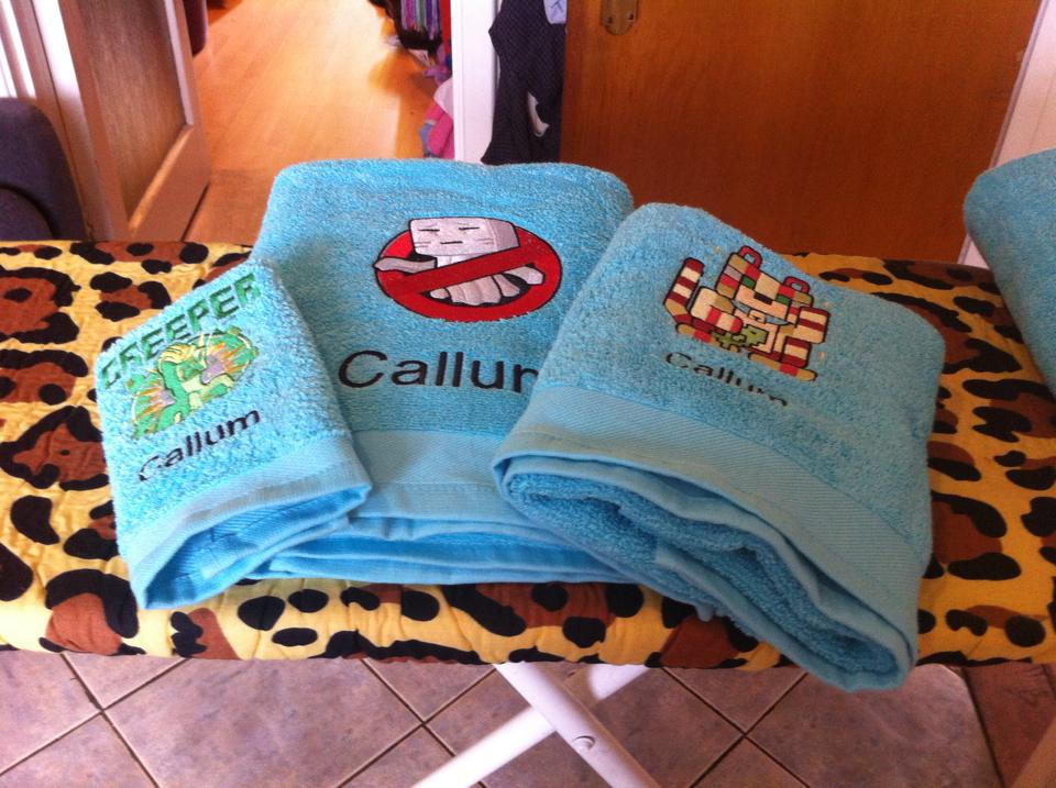 Minecraft designs on towels embroidered
