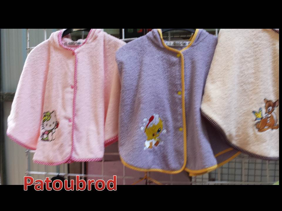 Poncho towels embroidered with Hello Kitty and Bambi designs