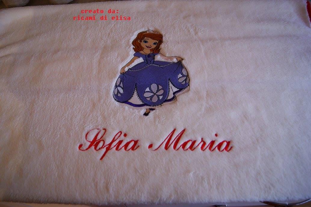 Towel embroidered with Sofia design