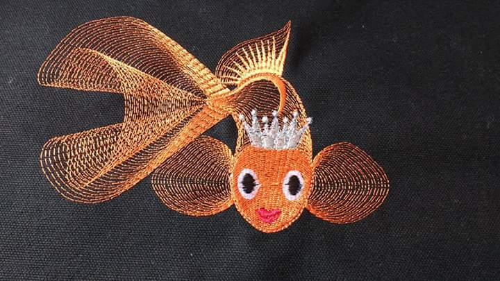 Gold fish  embroidered