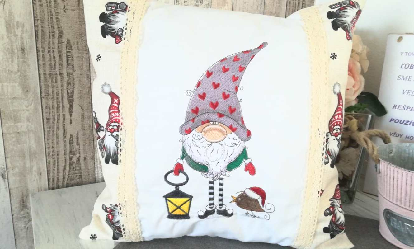 Christmas cushion with Gnome embroidery design