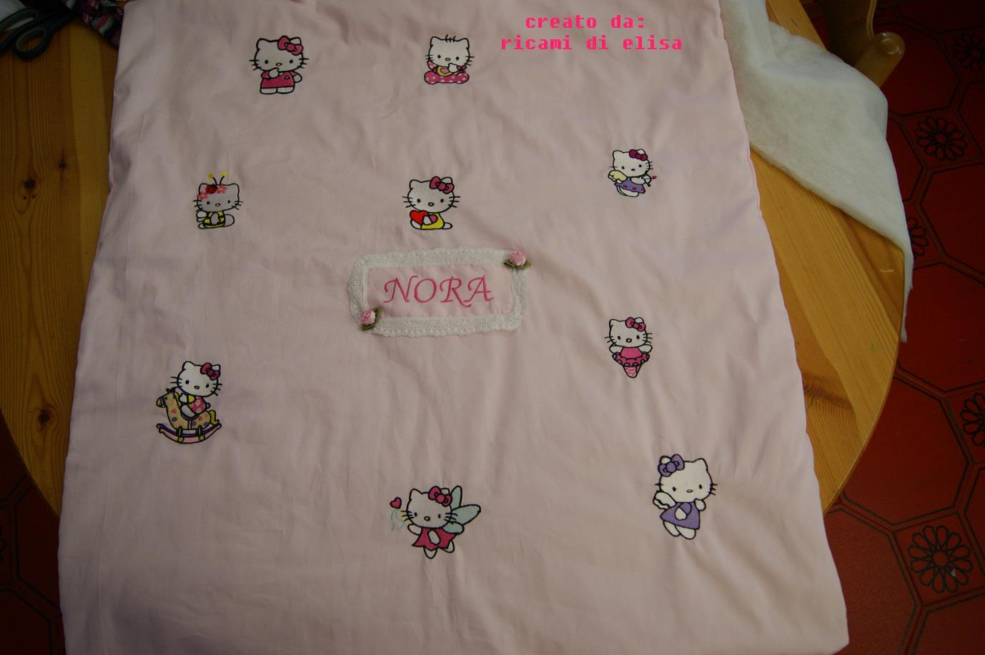 Embroidered Hello Kitty design on blanket