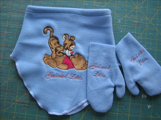 Baby Pooh and baby Tigger design on winter set embroidered