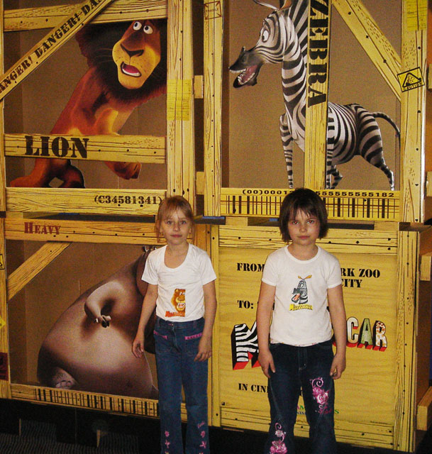 Madagascar lion and zebra embroidered on t-shirts