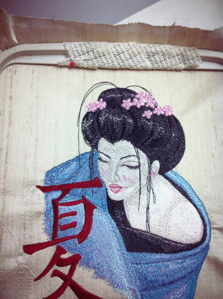 Geisha with Hieroglyphic embroidery design in hoop