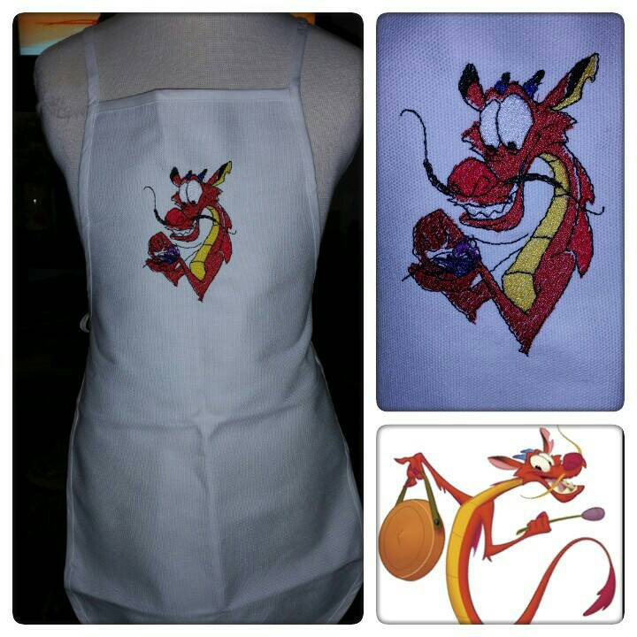 Dragon design on apron embroidered