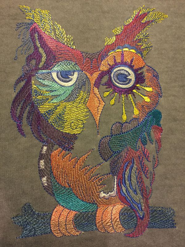 Owl in colors design embroidered on leather bag