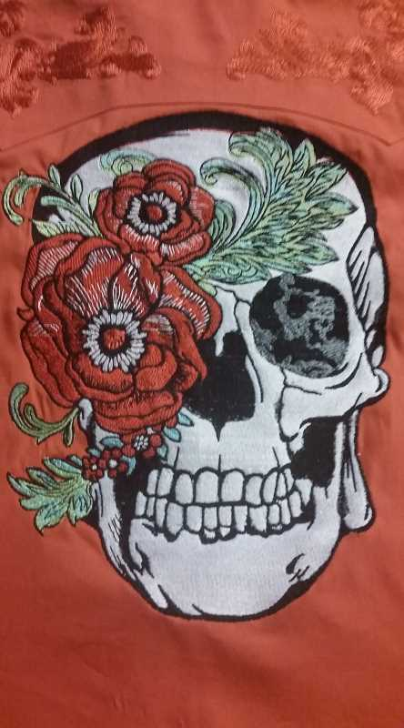 Skull with peony mask embroidery design