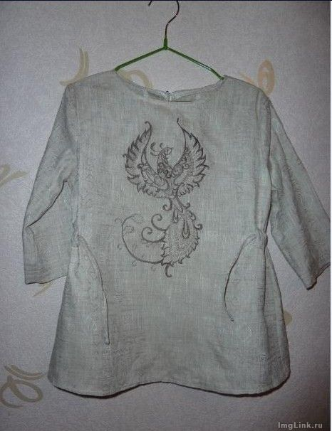 Shirt with embroidered Fantastic Bird design
