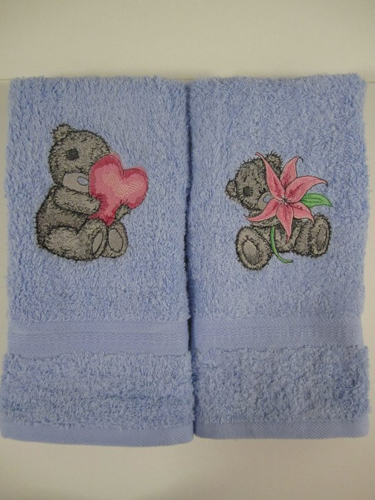 Tatty teddy bears embroidered on bath towels