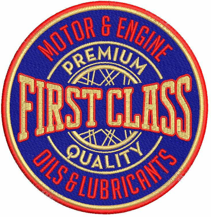 First Class Logo Machine Embroidery Design