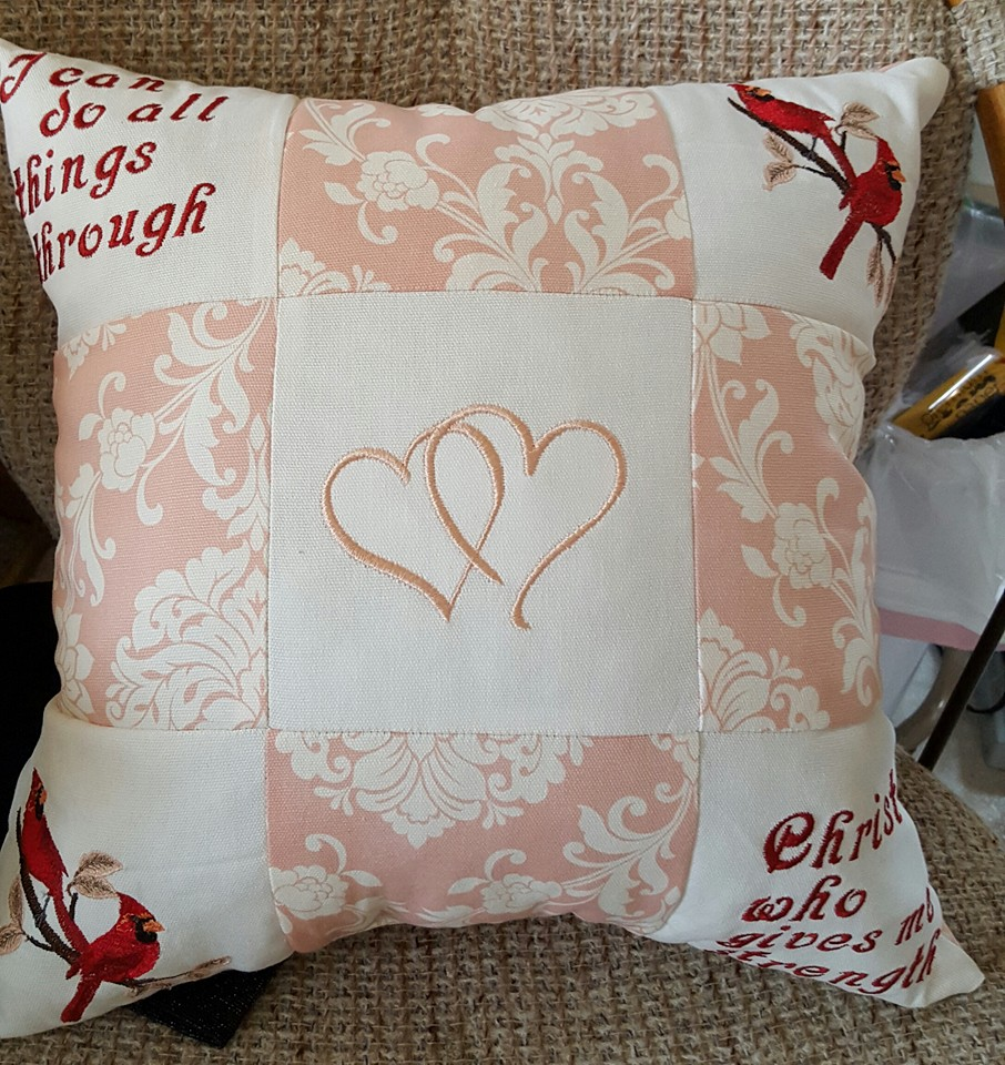 Valentine's Day design on embroidered pillowcase