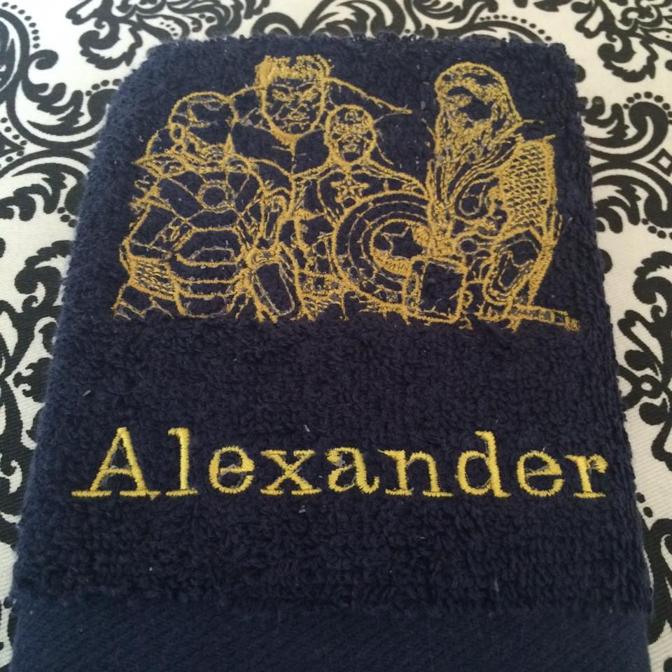 Avengers design on towel embroidered