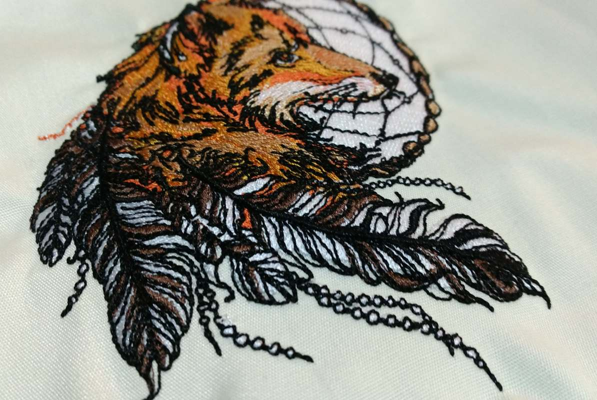 fox dreamcatcher embroidery