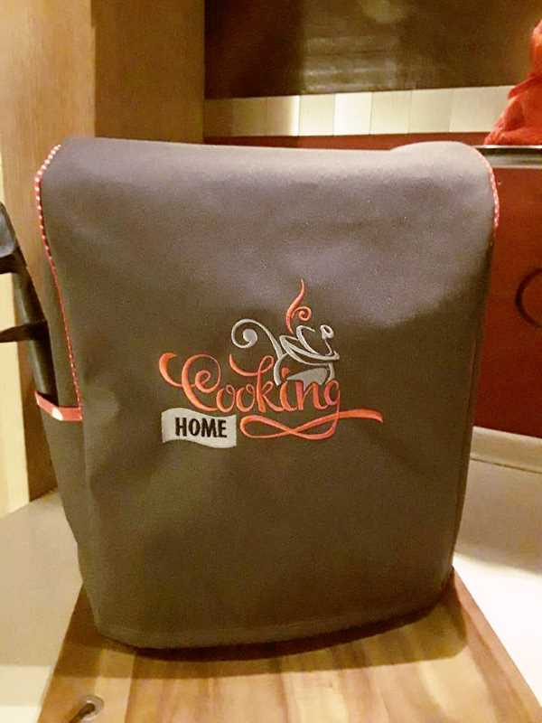 Hot cover with Home Cooking label embroidery