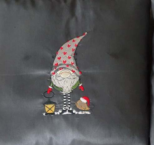 Christmas dwarf with lantern embroidery