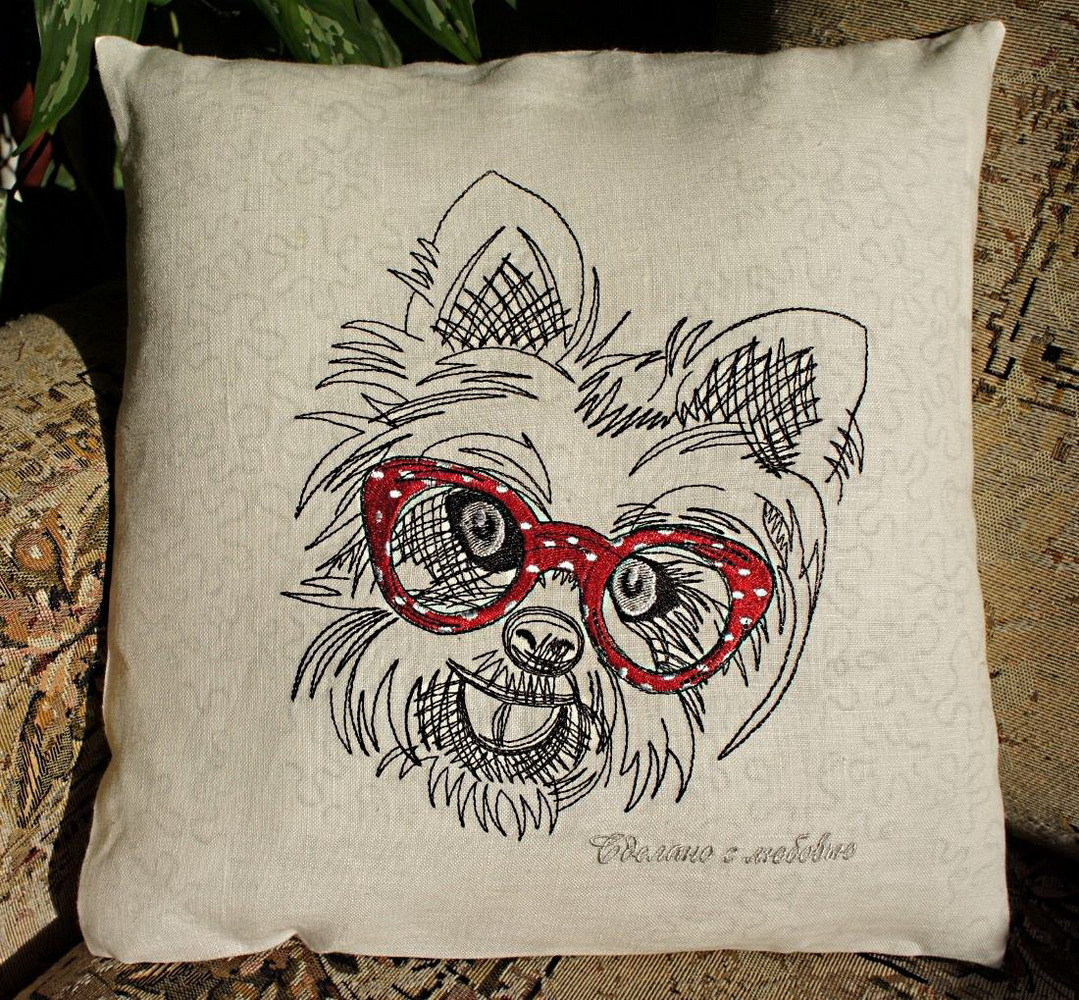 Embroidered White terrier design on pillowcase