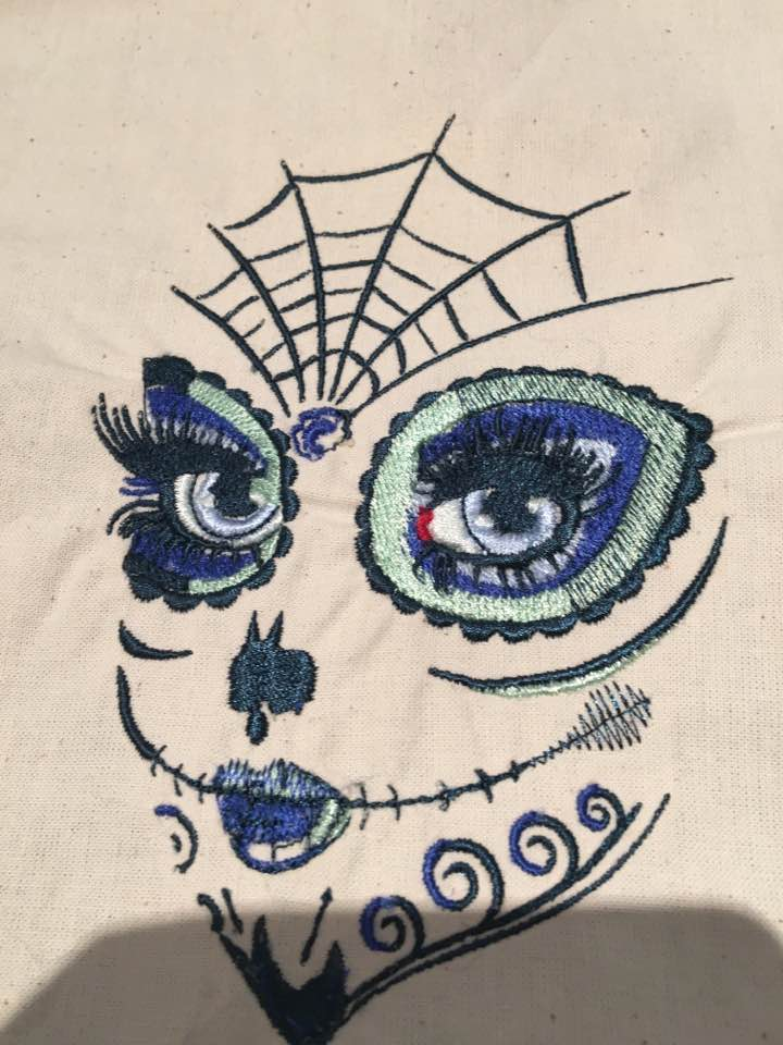 woman skull makeup embroidery design