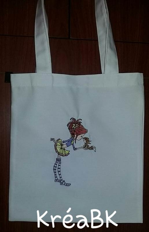 Bag with girl and squirrel embroidery design