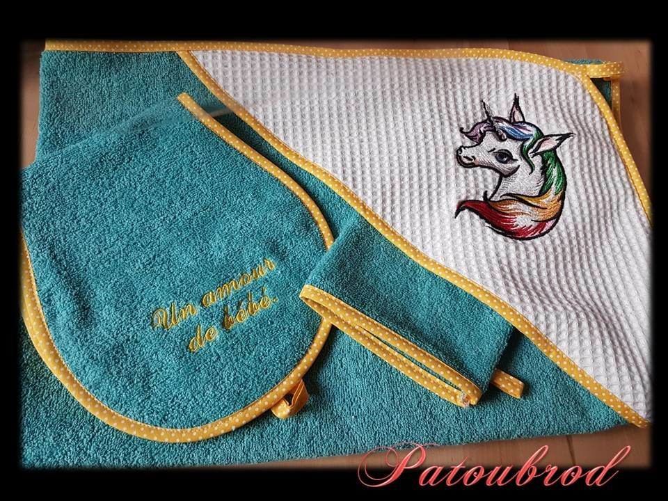 Gift for newborn with Rainbow unicorn embroidery design