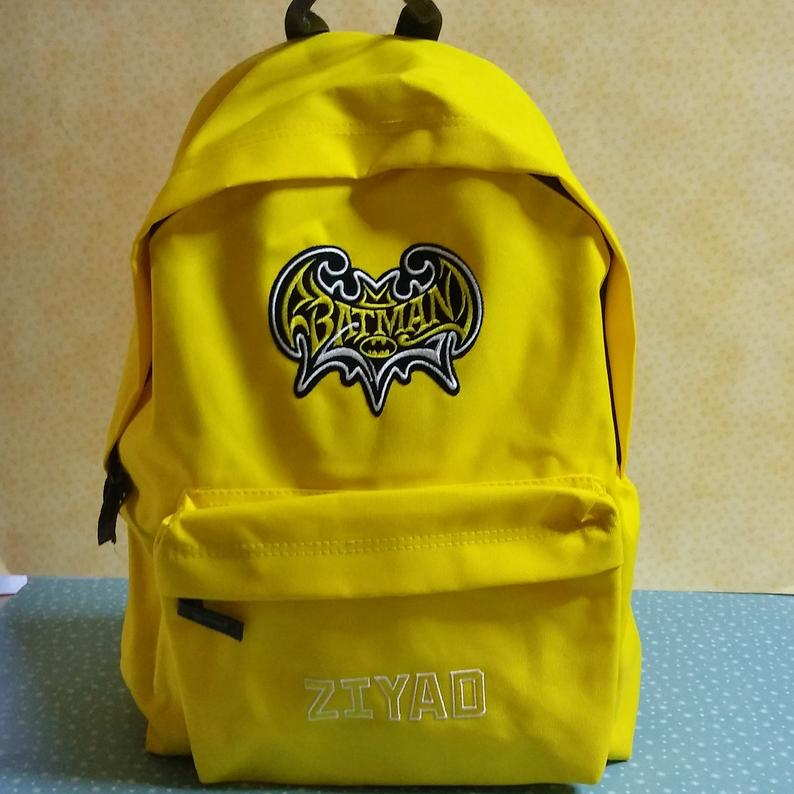 Backpack with Batman vintage logo embroidery design