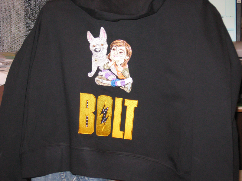 Bolt and Penny machine embroidery on jacket