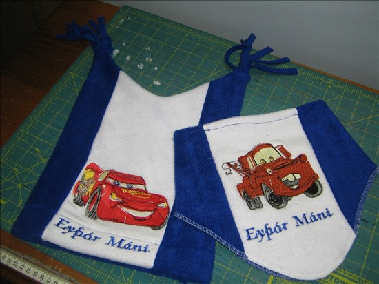 Cars embroidered designs on winter set