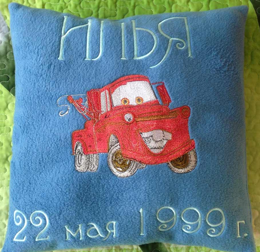 Mater embroidered at pillow