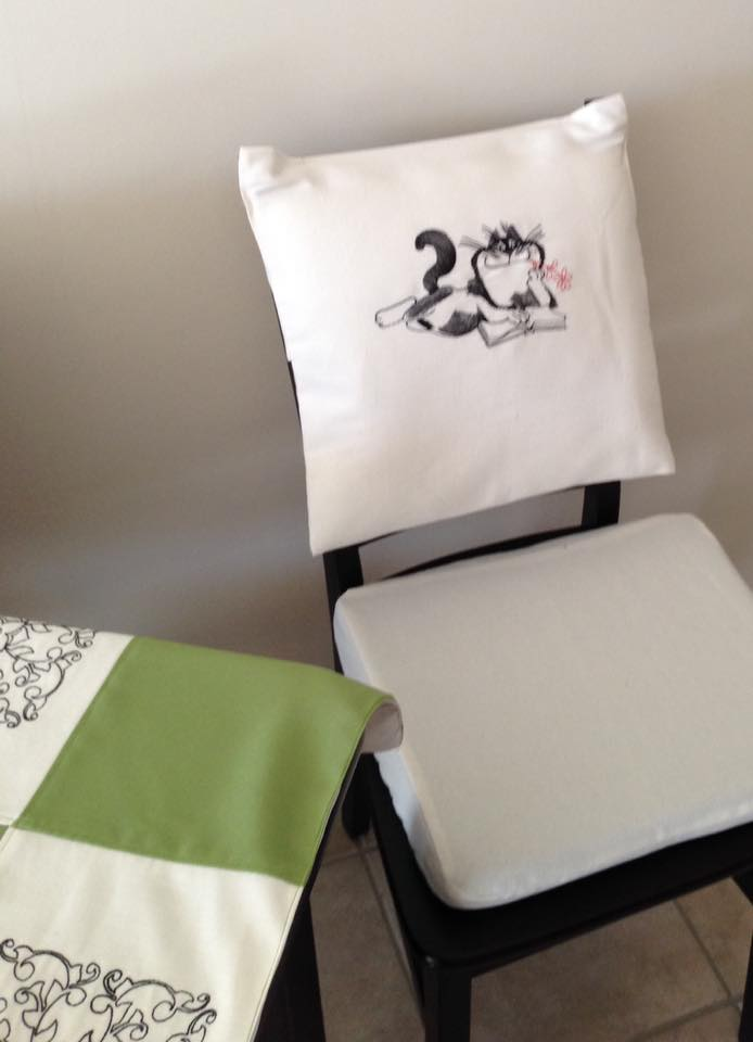 Embroidered chair cover back with free design