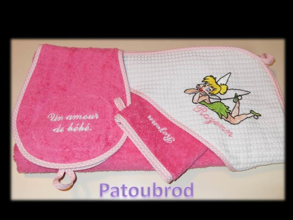 Embroidered Tinkerbell on towel