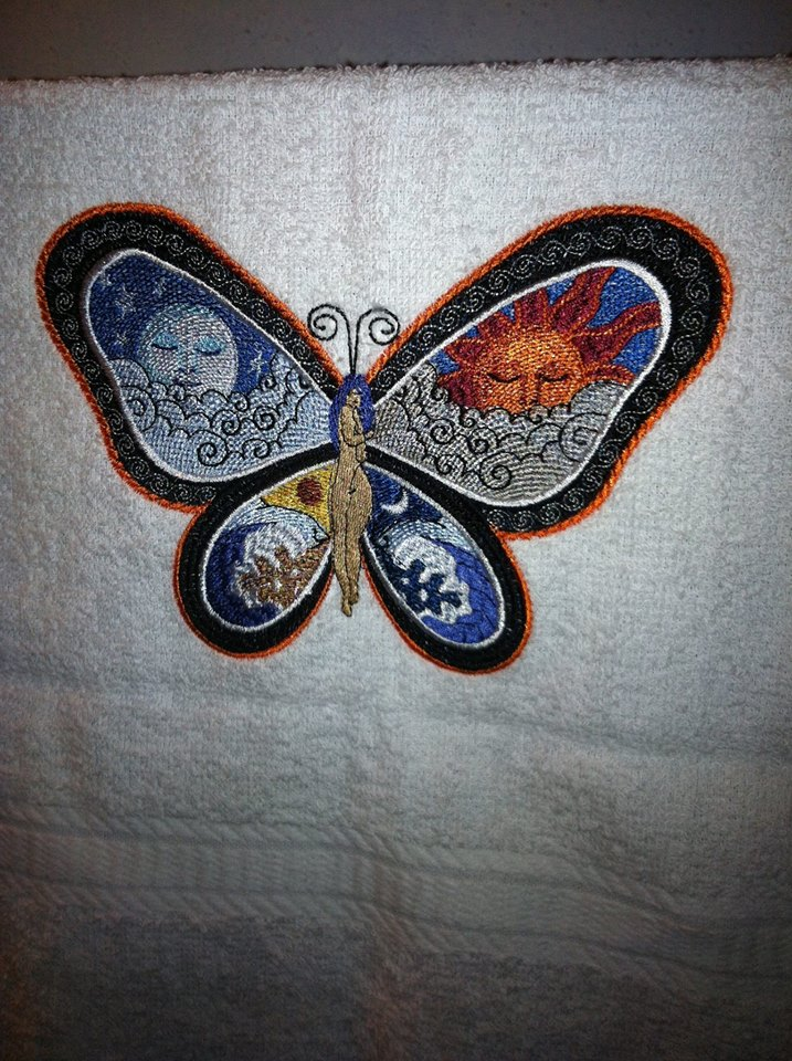 Fantastic Butterfly on bath towel embroidered